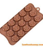 Khuôn silicon 15 bông hoa hồng