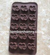Khuôn bánh silicon 15 hình tim đôi