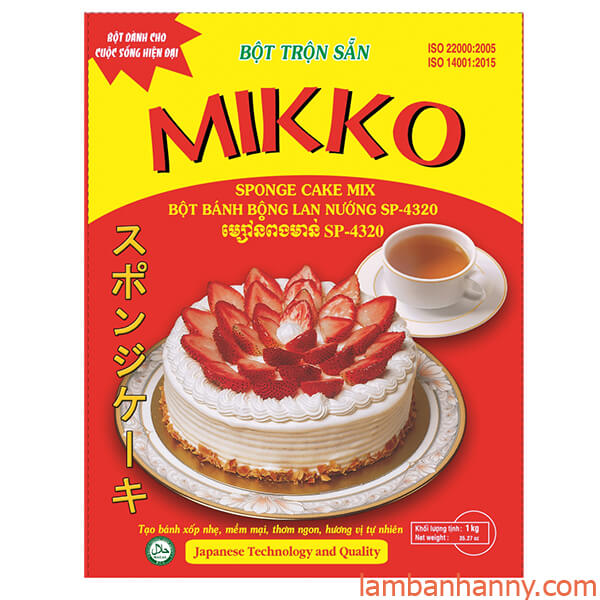 bột trộn sẵn bánh bông lan Mikko