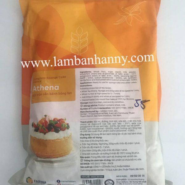 Bột trộn sẵn bánh bông lan Athena 1kg Hàn Quốc