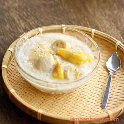 chè chuối khoai lang thơm ngon cùng nước cốt dừa