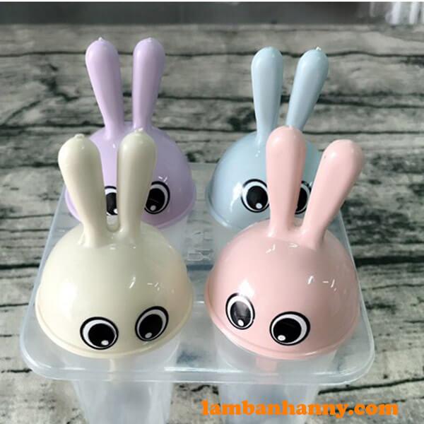 Khuôn làm kem 4 tai thỏ dễ thương
