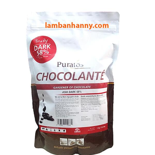 Socola đen nguyên chất Puratos 58%