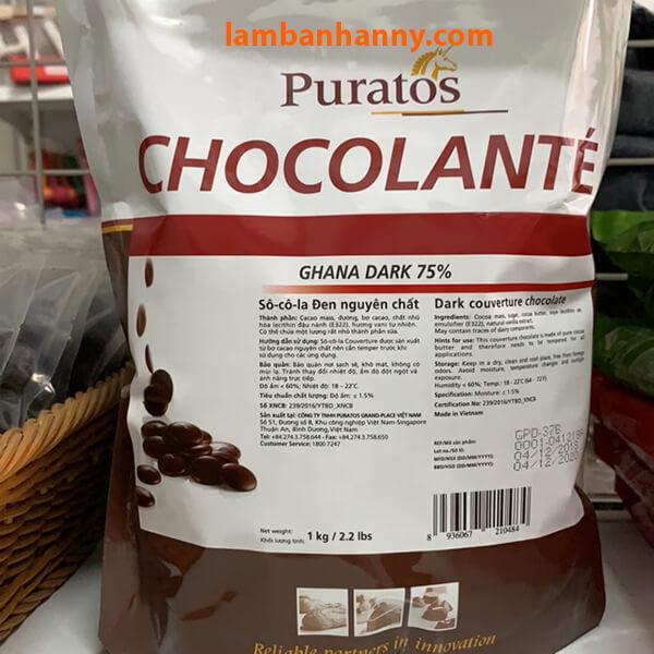 Socola đen nguyên chất Puratos 75%