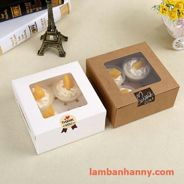 hộp đựng bánh cupcake 4 ô