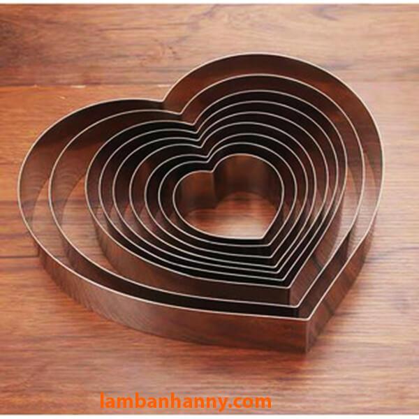 Khuôn Ring làm bánh Trái tim nhiều kích cỡ