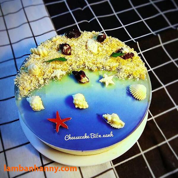Bánh cheescake biển xanh đẹp mắt