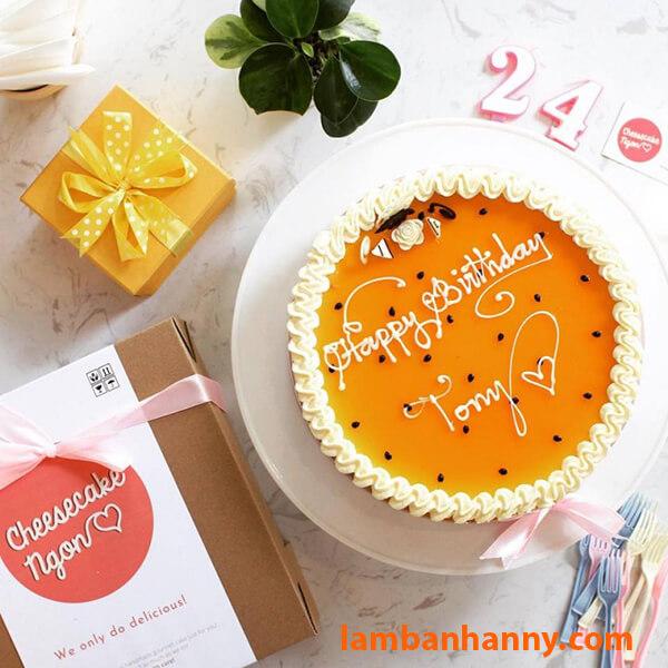 Bánh cheesecake chanh leo tròn