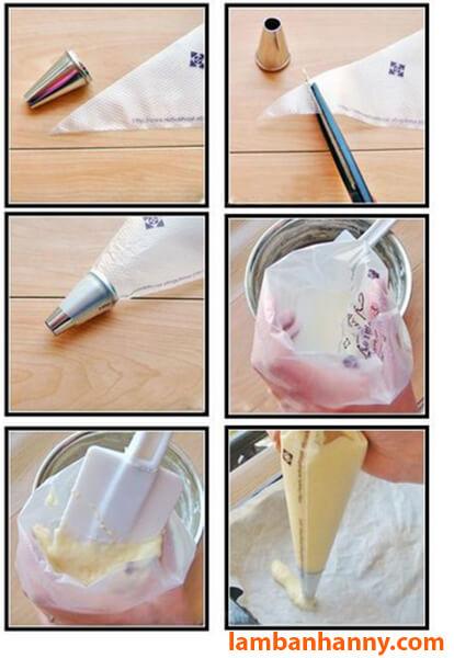 Cách bước sử dụng túi bắt kem
