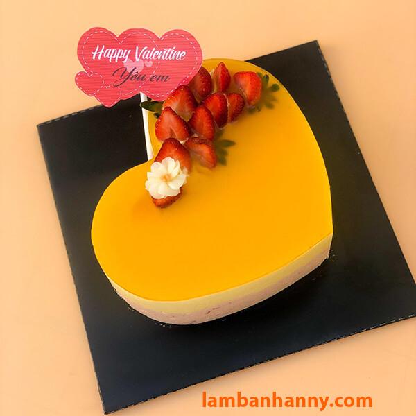 Cheesecake chanh leo trái tim đẹp mắt