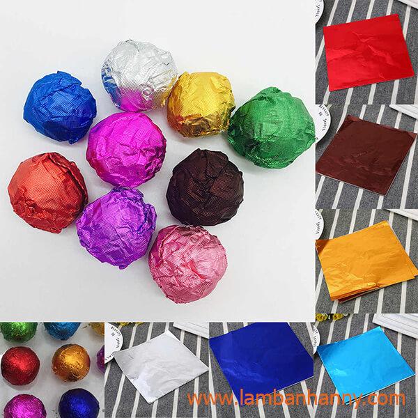 giấy bạc bọc socola nhiều màu sắc