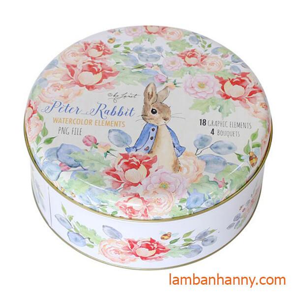 hộp thiếc tròn đựng bánh bình con thỏ
