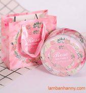 Hộp thiếc tròn đựng bánh kẹo hình hoa hồng 300gr