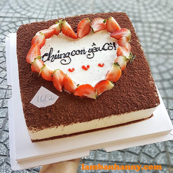 Bánh tiramisu sinh nhật mẫu vuông