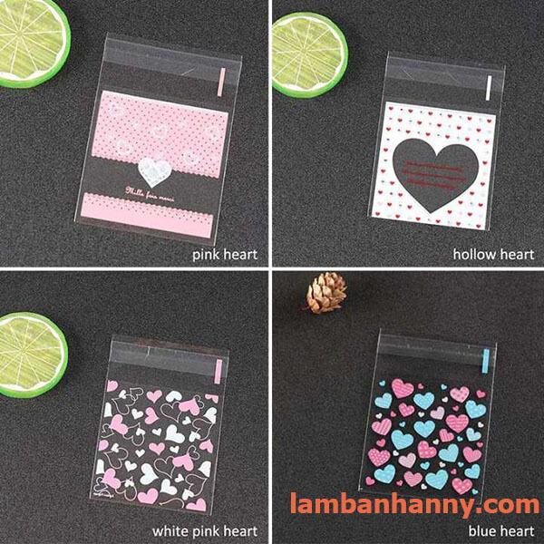 Các mẫu mã túi đựng bánh trái tim 7x7cm