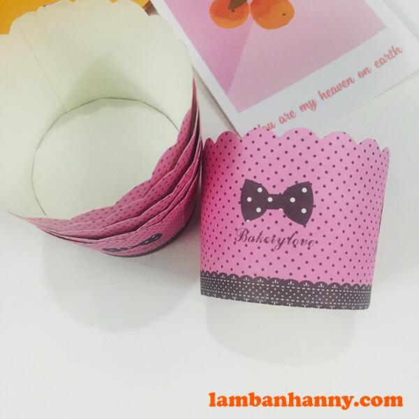 Cup giấy hồng chấm bi 5cm