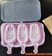 Khuôn kem silicon 3 hình mặt thỏ