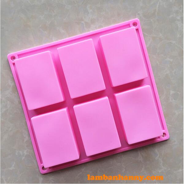 Khuôn silicon 6 ô chữ nhật màu hồng