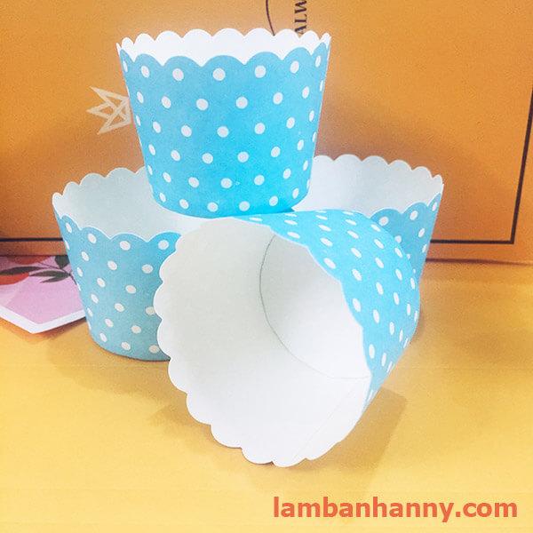 cúp giấy xanh chấm bi 5cm 3