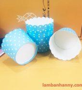 Cup giấy xanh chấm bi 5cm (50 chiếc)