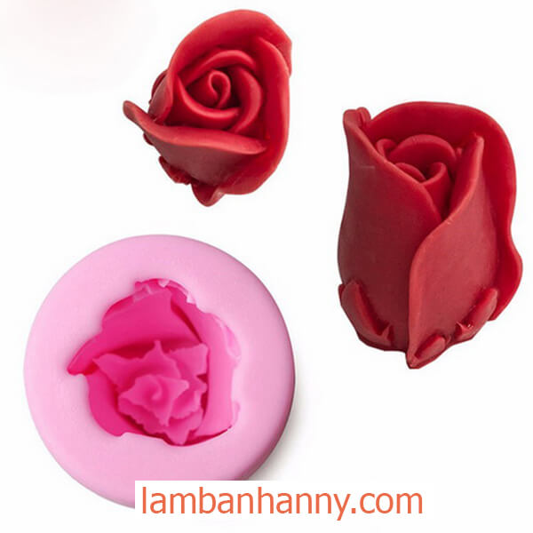 khuôn silicon 4d hoa hồng búp