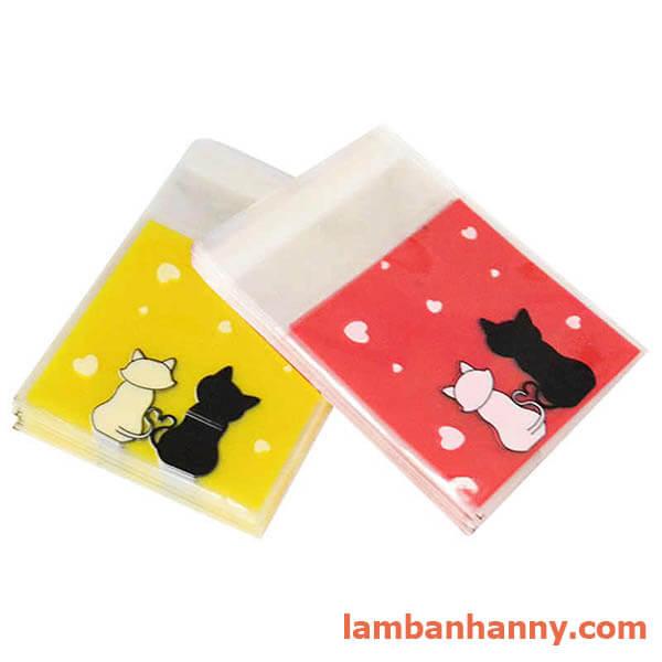 túi đựng bánh hình 2 con mèo 7x7cm 2