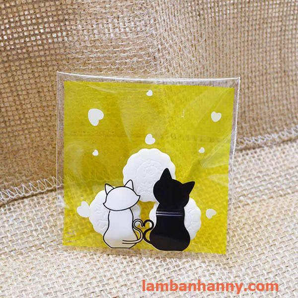 túi đựng bánh hình 2 con mèo 7x7cm