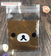 Túi đựng bánh hình mặt gấu nâu 7x7cm