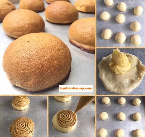 Cách gói nhân bánh và xịt topping lên bánh