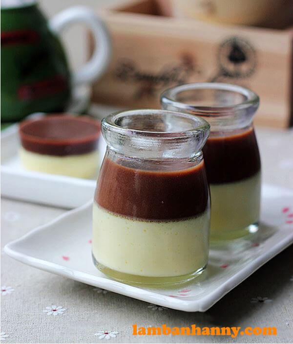 Pudding 2 tầng sữa và cacao