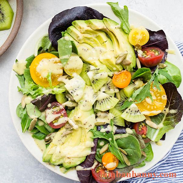 Cách làm salad kiwi bơ trộn nước sốt