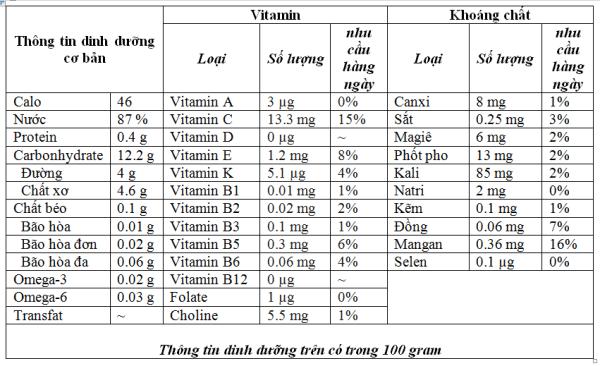 Thành phần dinh dưỡng nam việt quất