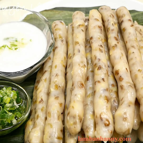 Cách làm bánh đúc lá lúa - đậu xanh nước cốt dừa mỡ hành thơm ngon béo ngậy 5