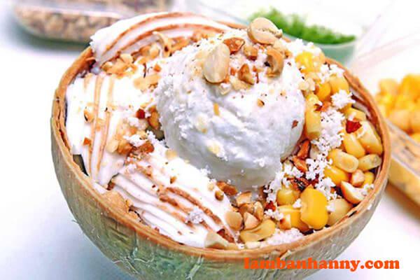 Kem trái dừa giải nhiệt mùa hè