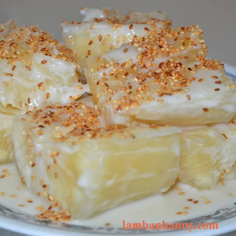 khoai mì luộc nước cốt dừa