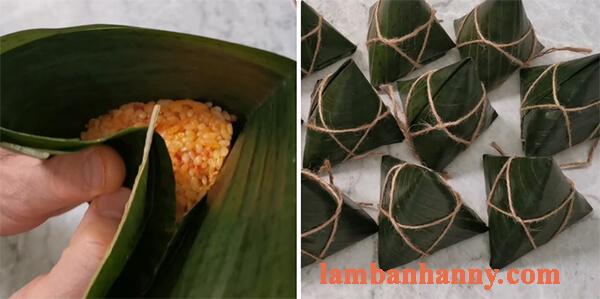 Cách làm bánh ú gấc dừa nhân đậu xanh 8