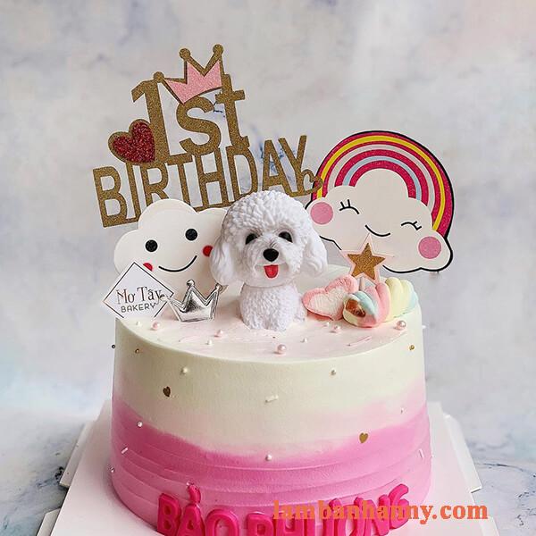 Chó poodle trang trí bánh 3