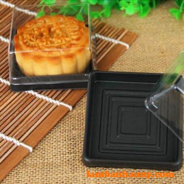 Hộp nhựa bánh trung thu đế đen XY80S