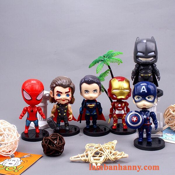 Set 6 siêu anh hùng đầu to trang trí bánh 1