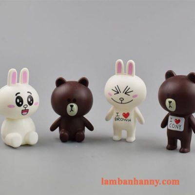 Set gấu nâu thỏ trắng trang trí bánh kem 1