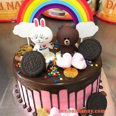 Set gấu nâu thỏ trắng trang trí bánh kem 5