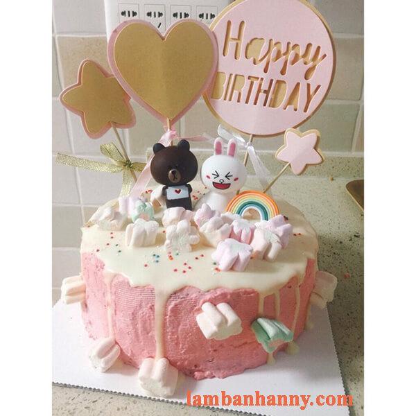 Set gấu nâu thỏ trắng trang trí bánh kem 7