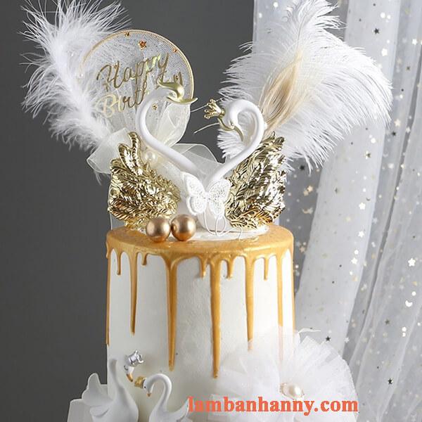 Set thiên nga trắng trang trí bánh kem 1