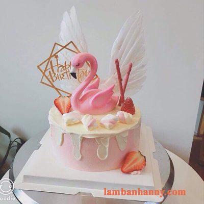 Thiên nga hồng đơn trang trí bánh 3