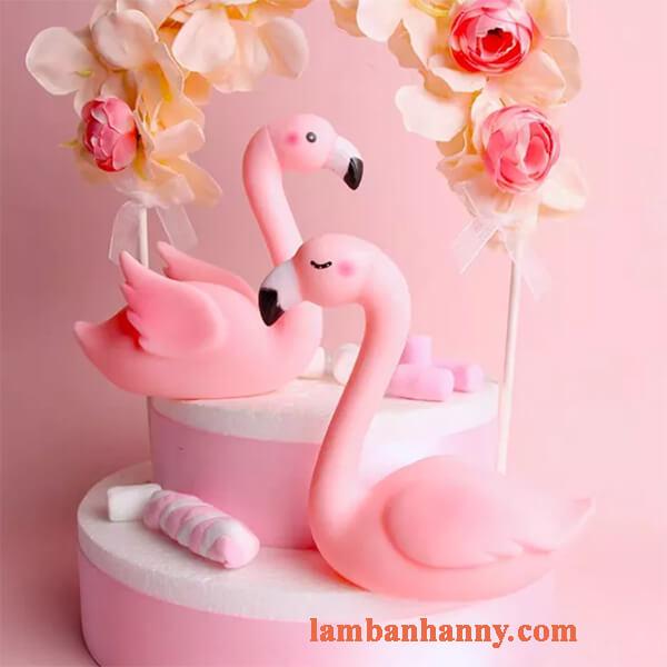 Thiên nga hồng đơn trang trí bánh 5