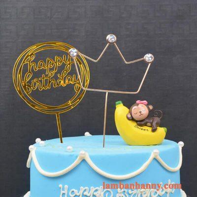 khỉ ôm chuối trang trí bánh 3