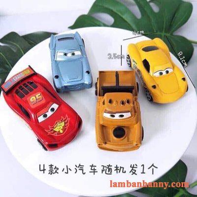 set 4 xe ô tô trang trí bánh kemn