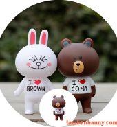 Set gấu nâu thỏ trắng trang trí bánh kem