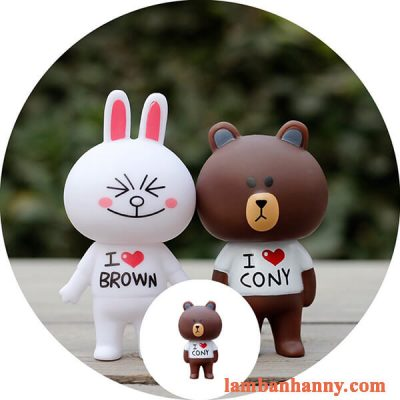 set gấu nâu thỏ trắng trang trí bánh kem 4