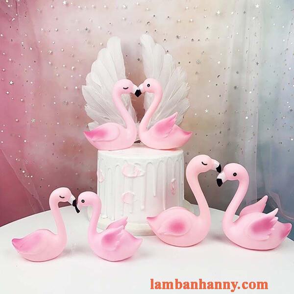 set thiên nga hồng trang trí bánh kem 3